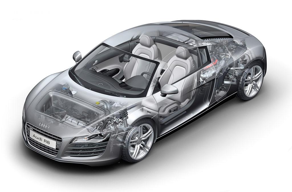 Audi R8 -  cutaway view