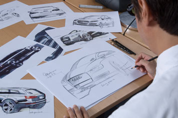 Exterior designer Satoshi Wada draws a design sketch of the Audi Q7
