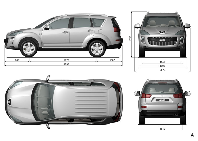 Peugeot 4007 car body design for Car dimensions in feet india