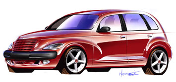 1999 Chrysler PT Cruiser sketch by Bryan Nesbitt