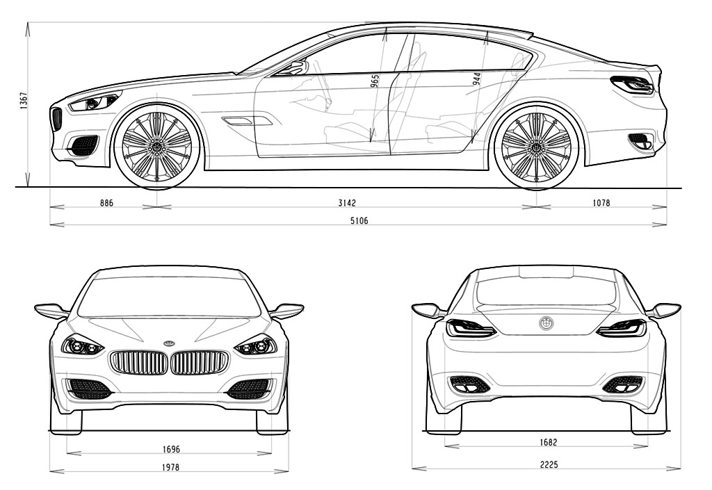 BMW CS Concept dimensions blueprint - Car Body Design