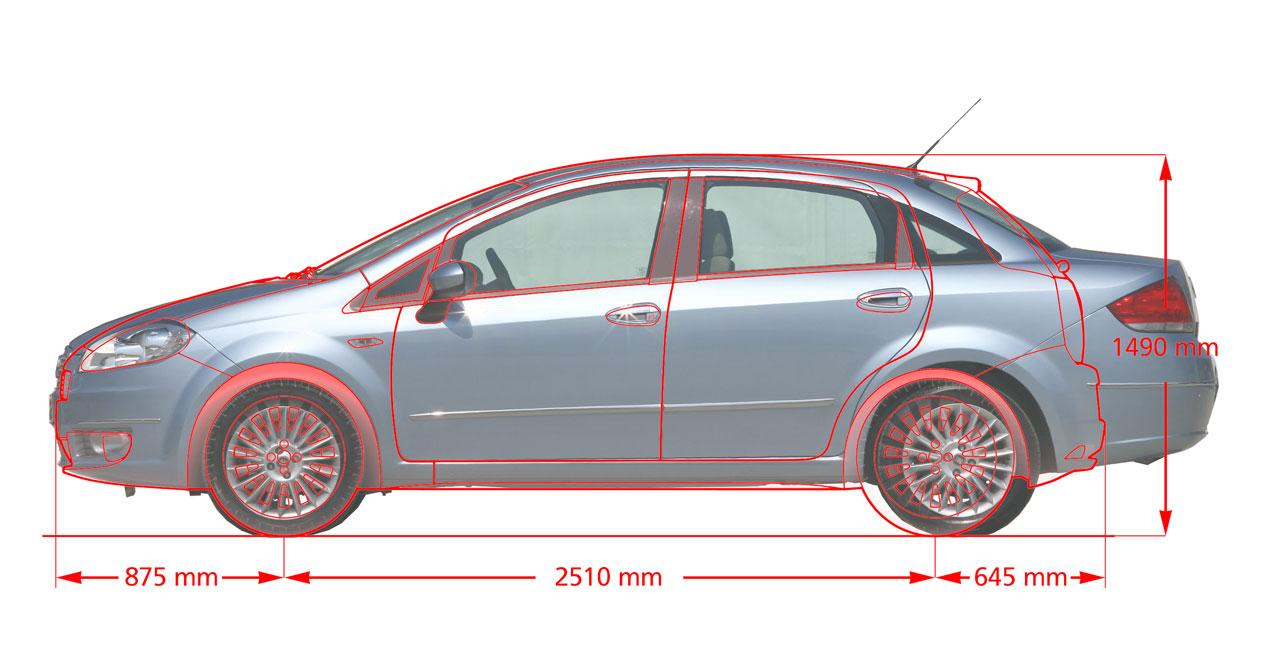 Fiat Linea Punto comparison overlay - Car Body Design