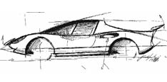 Ferrari Dino Berlinetta - sketch by Paolo Martin