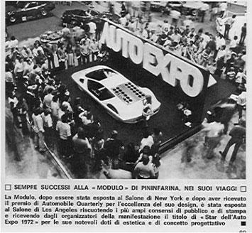 newspaper talks about the Ferrari Modulo's at 1972 Auto Expo