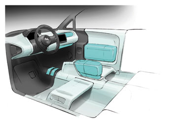 VW space up! blue concept - interior sketch
