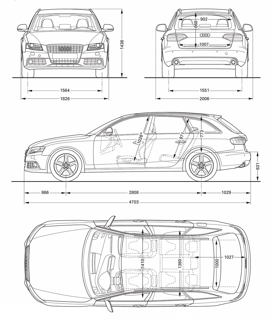 Audi a4 avant blueprint dimensions car body design audi a4 avant blueprint dimensions malvernweather Image collections