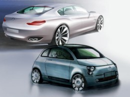 BMW Concept CS Fiat 500 design sketches