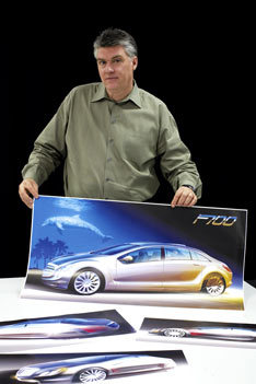 Designer Chris Rhoades with an F 700 sketch