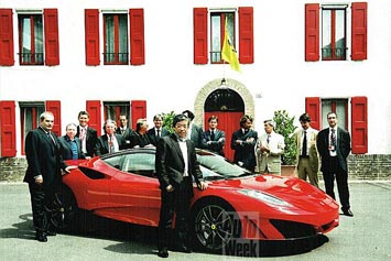 The Ferrari SP1 is delivered to its owner in Fiorano