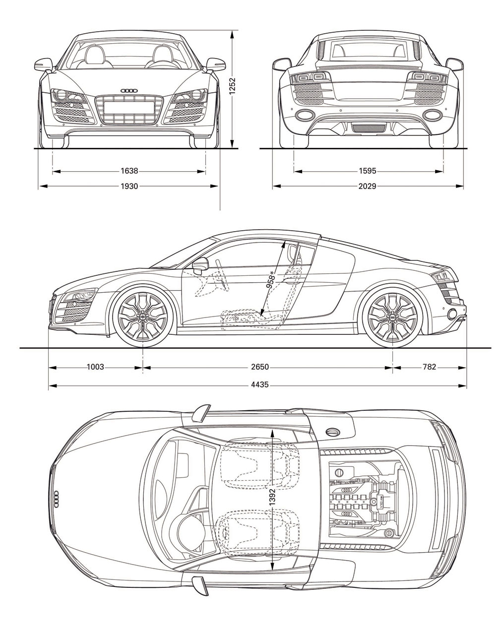 Audi R8 V10 blueprint dimensions - Car Body Design