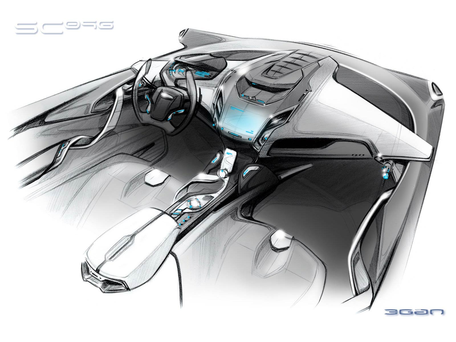 Ford iosis max concept interior design sketch car body - Car interior design ...