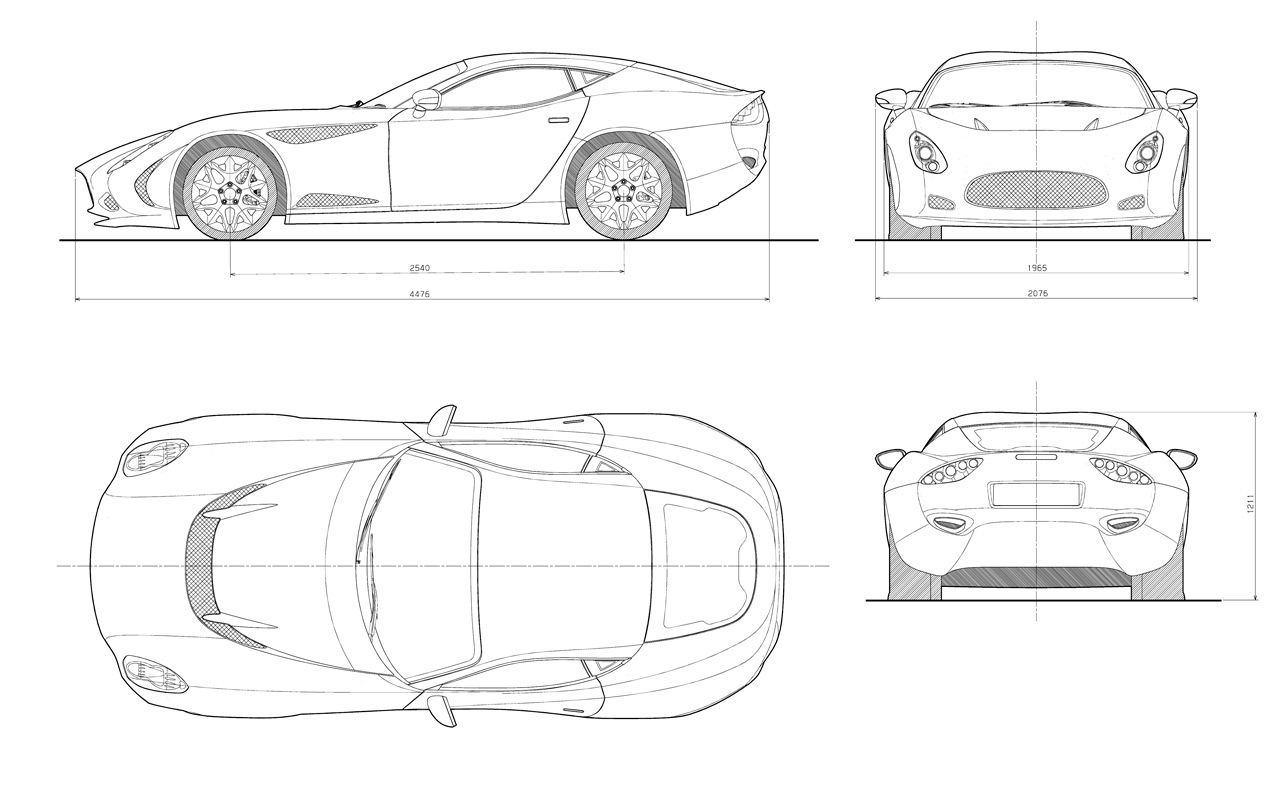 Zagato Perana Z One 4 Views Drawing Car Body Design