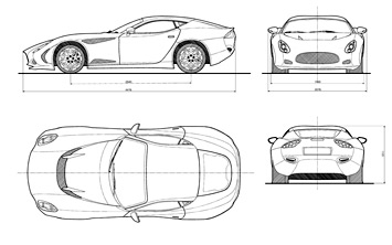 Zagato Perana Z One 4 Views Drawing
