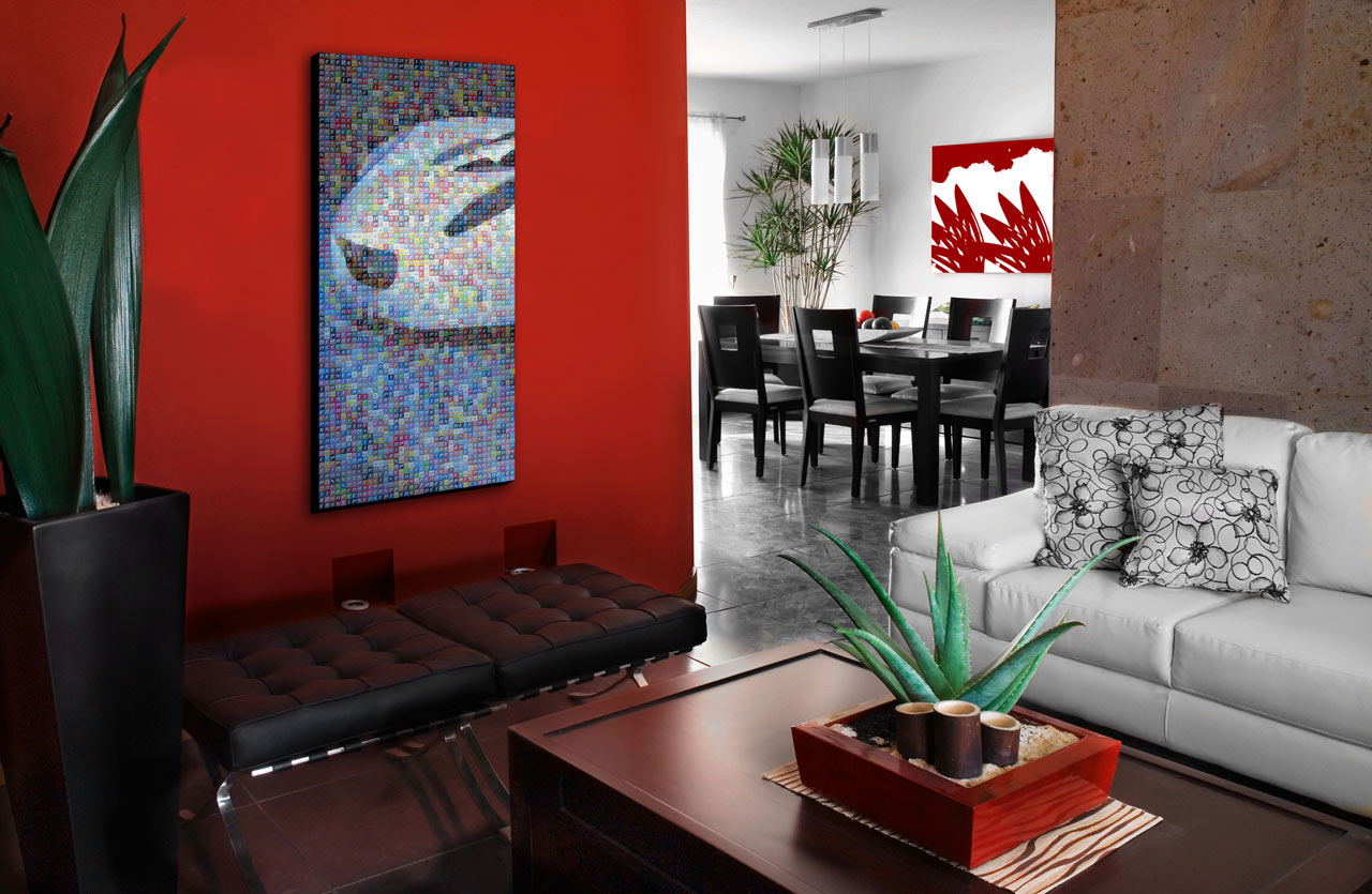 Luxury-living-room-design-with-red-wall-and-white-sofa title=