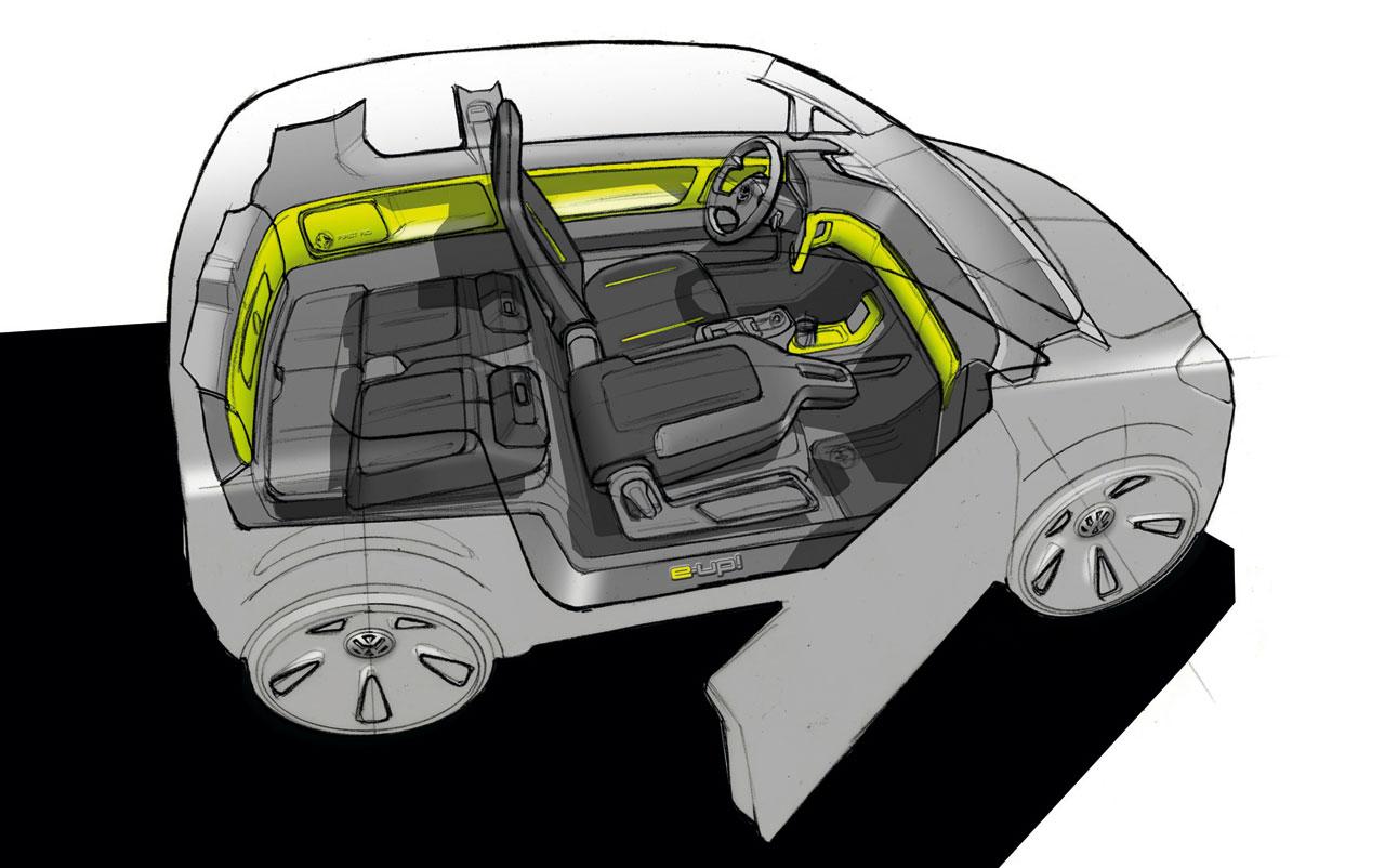 vw e up concept interior design sketch car body design. Black Bedroom Furniture Sets. Home Design Ideas
