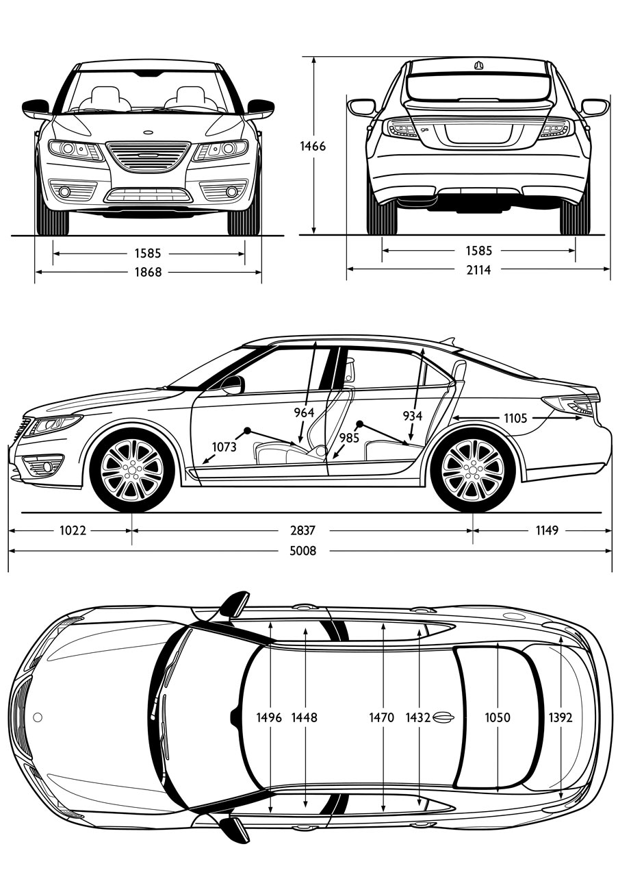 Saab 9 5 Sedan Dimensions Blueprint - Car Body Design