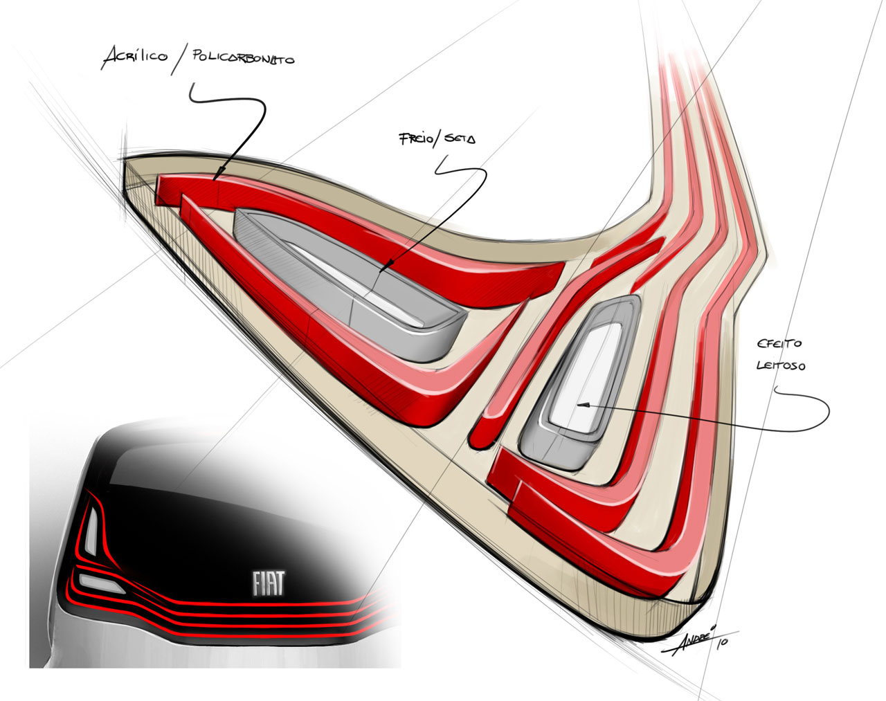 Fiat Mio FCC III Concept Tail Light Design Sketch - Car