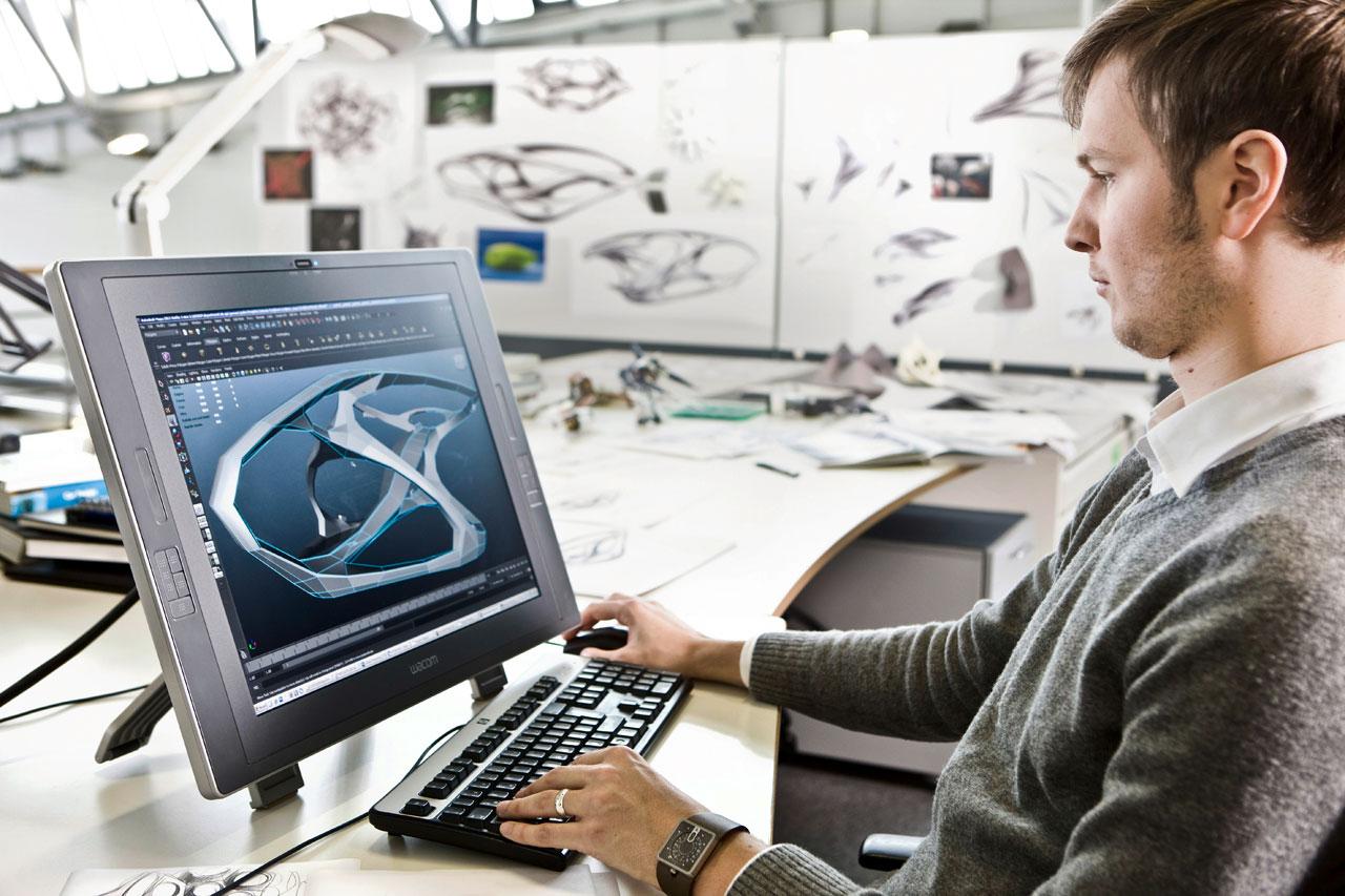 Mercedes Benz Interior Designer Working On The Cintiq Car Body Design