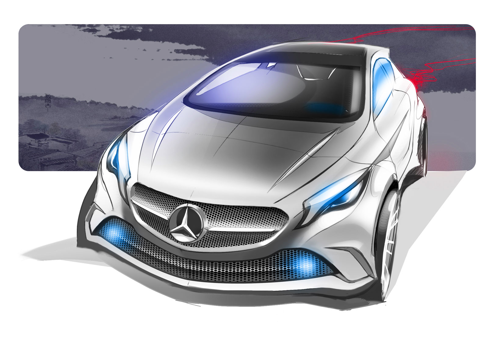 Mercedes Benz Concept A Class Design Sketch on Volvo S60 Sketch