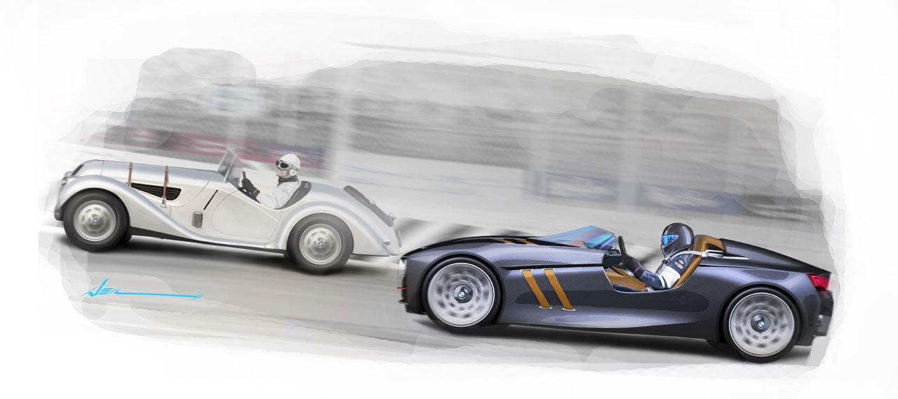 BMW 328 Hommage Concept Design Sketch - Car Body Design