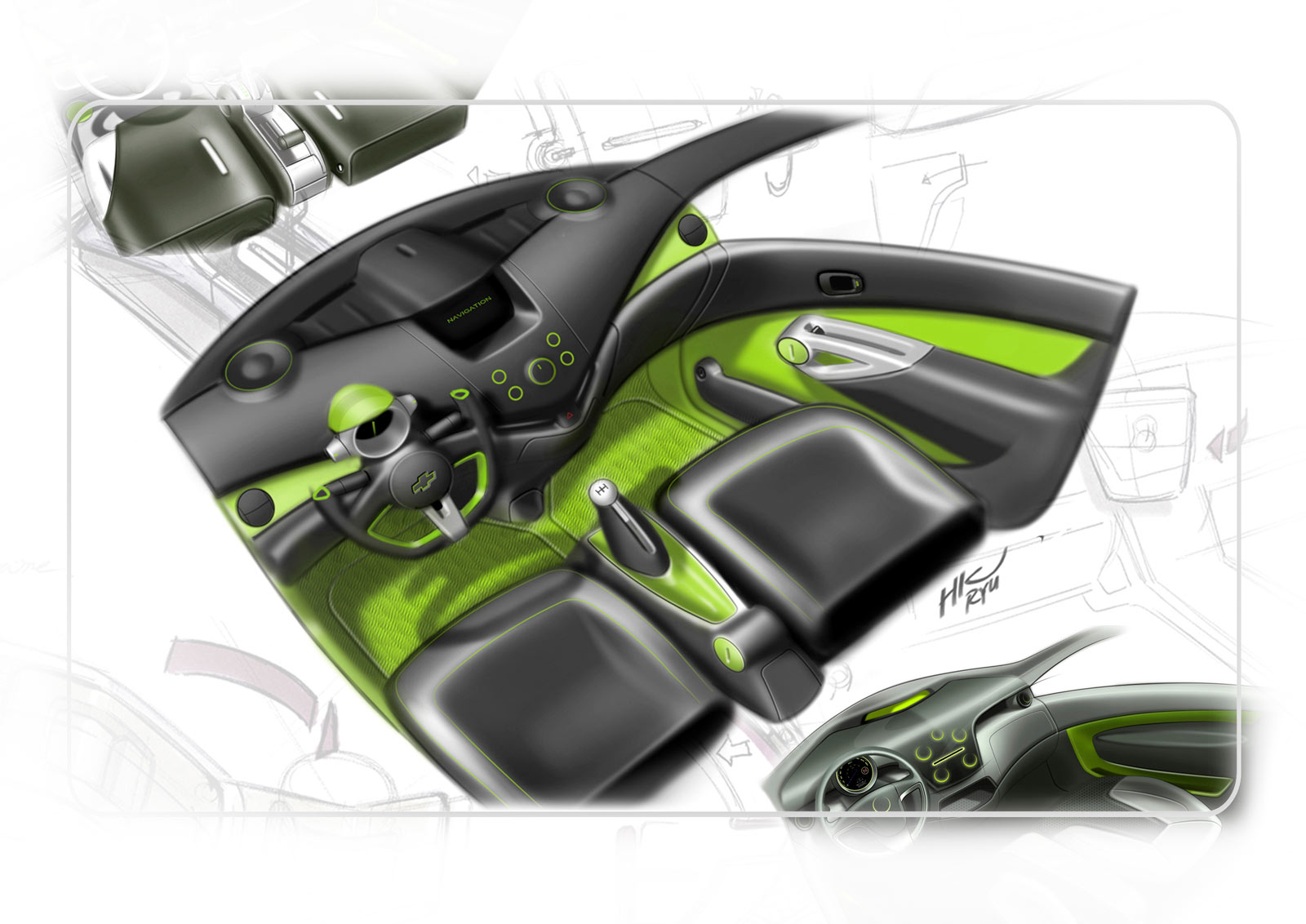 Chevrolet spark interior design sketch car body design for Custom automotive interior designs