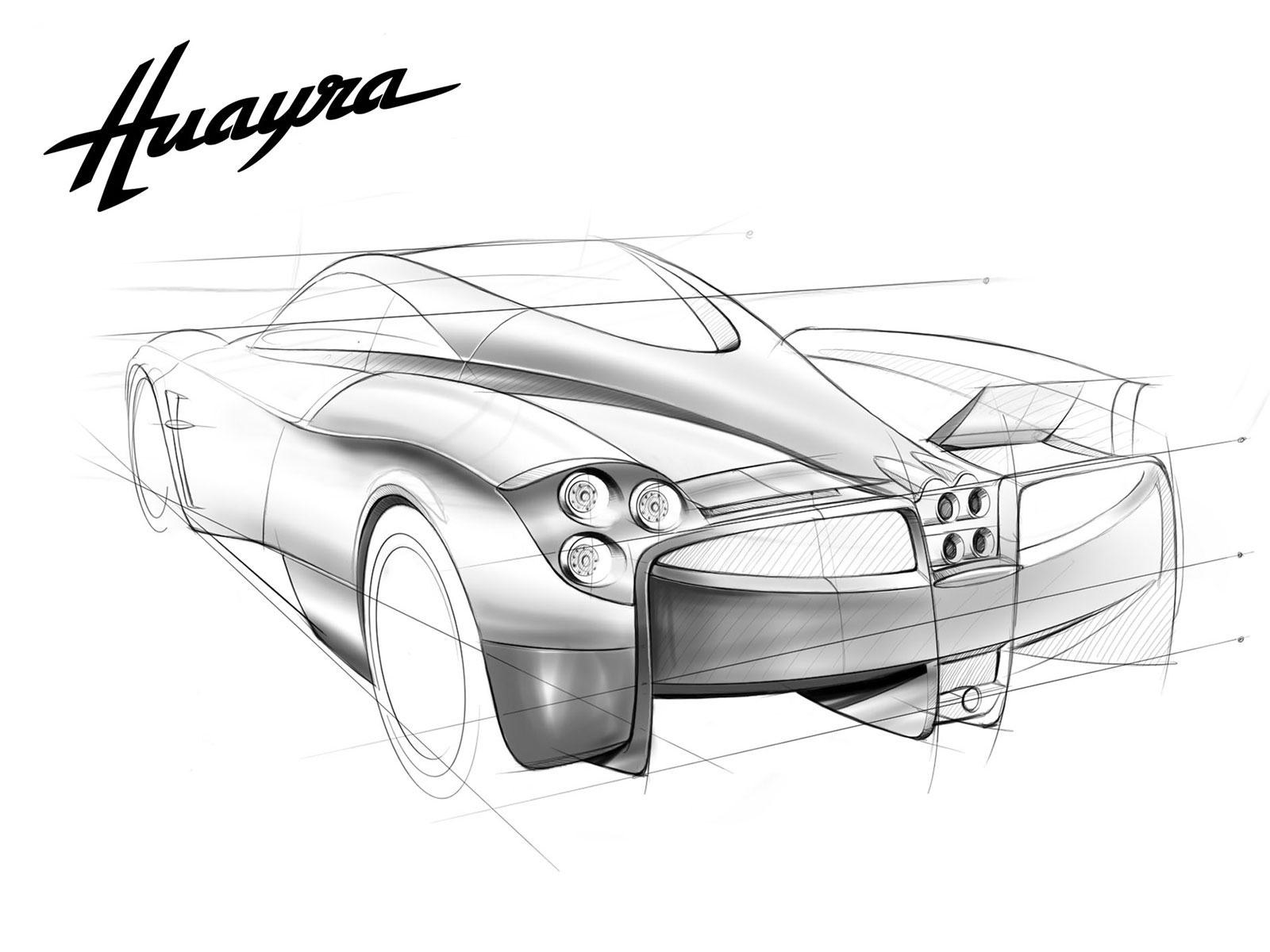 Pagani Huayra Design Sketch - Car Body Design