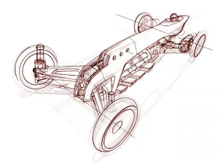 Racing car sketch in Painter