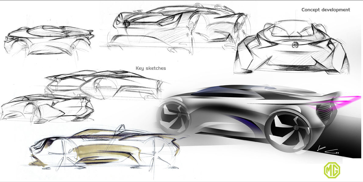MG Midget Concept design sketches - Car Body Design
