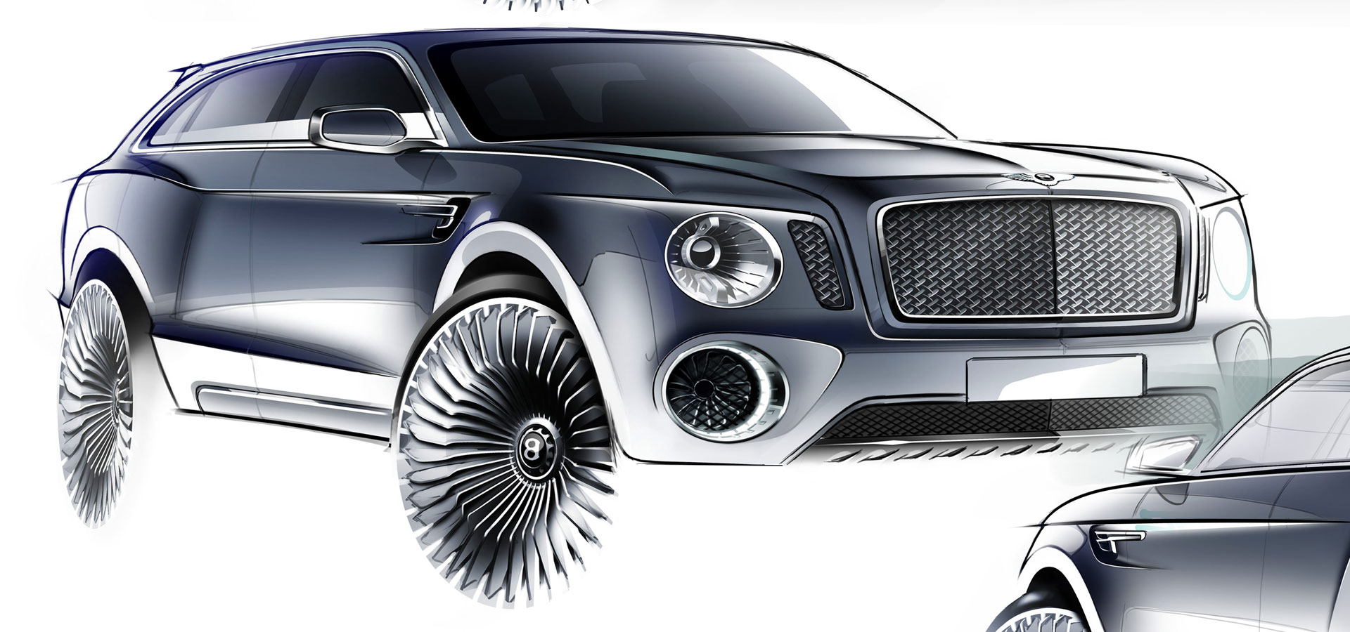 Bentley EXP 9 F Concept - Design Sketch - Car Body Design