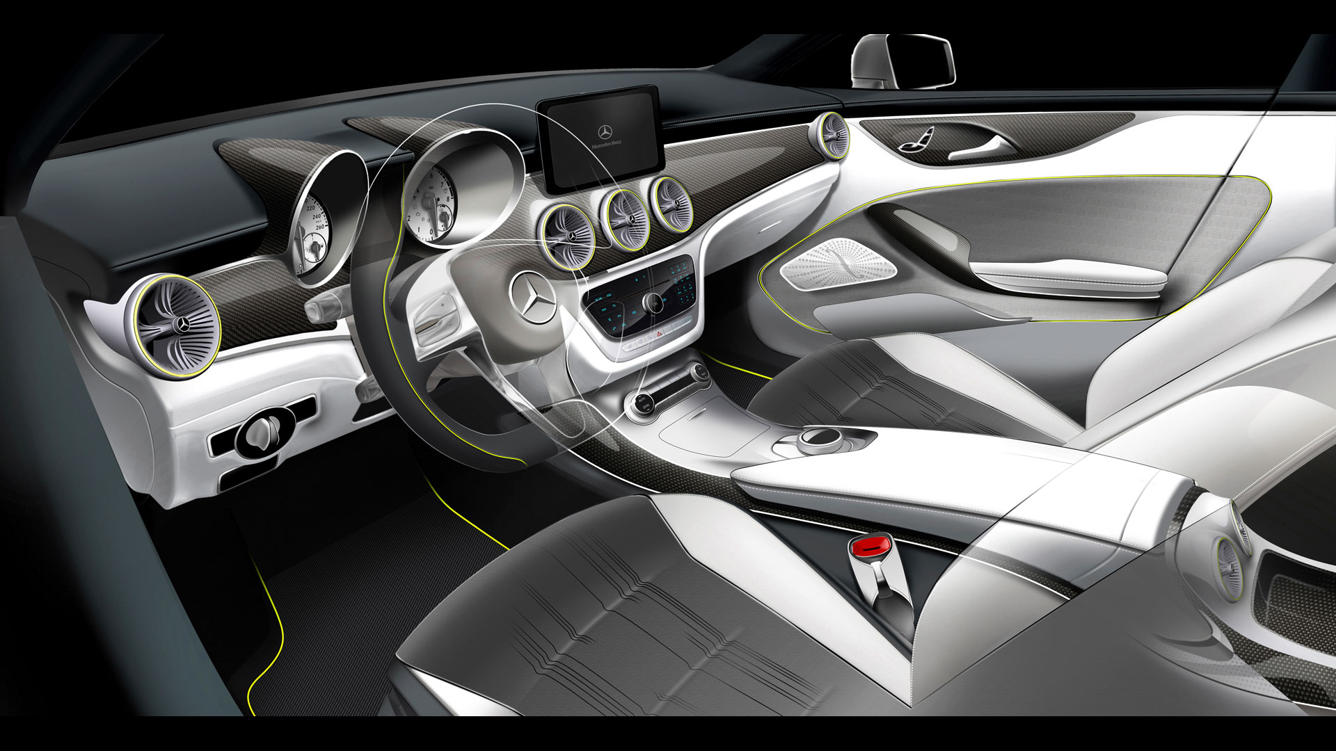 mercedes benz concept style coupe design interior sketch car body design