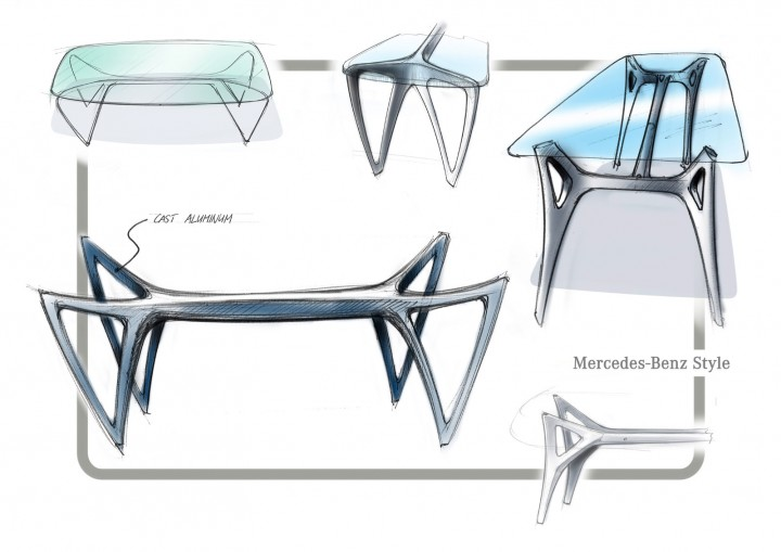 Mercedes benz unveils furniture collection car body design for Table design sketch