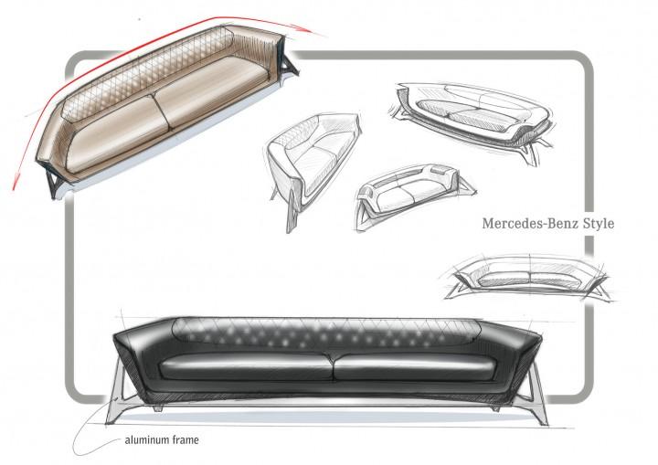 Mercedes benz sofa class mbs 001 design sketch car for Sofa design sketch