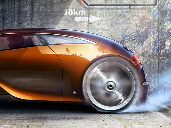 The Ultimate Race: rendering a futuristic hotrod in Photoshop