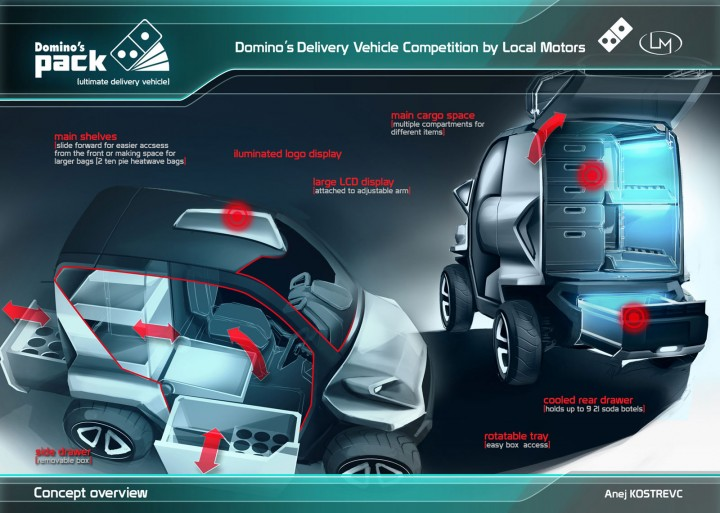 domino s ultimate delivery vehicle competition the winners car body design. Black Bedroom Furniture Sets. Home Design Ideas