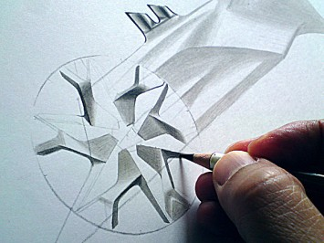 Wheel Pencil Rendering by Olivier Gamiette