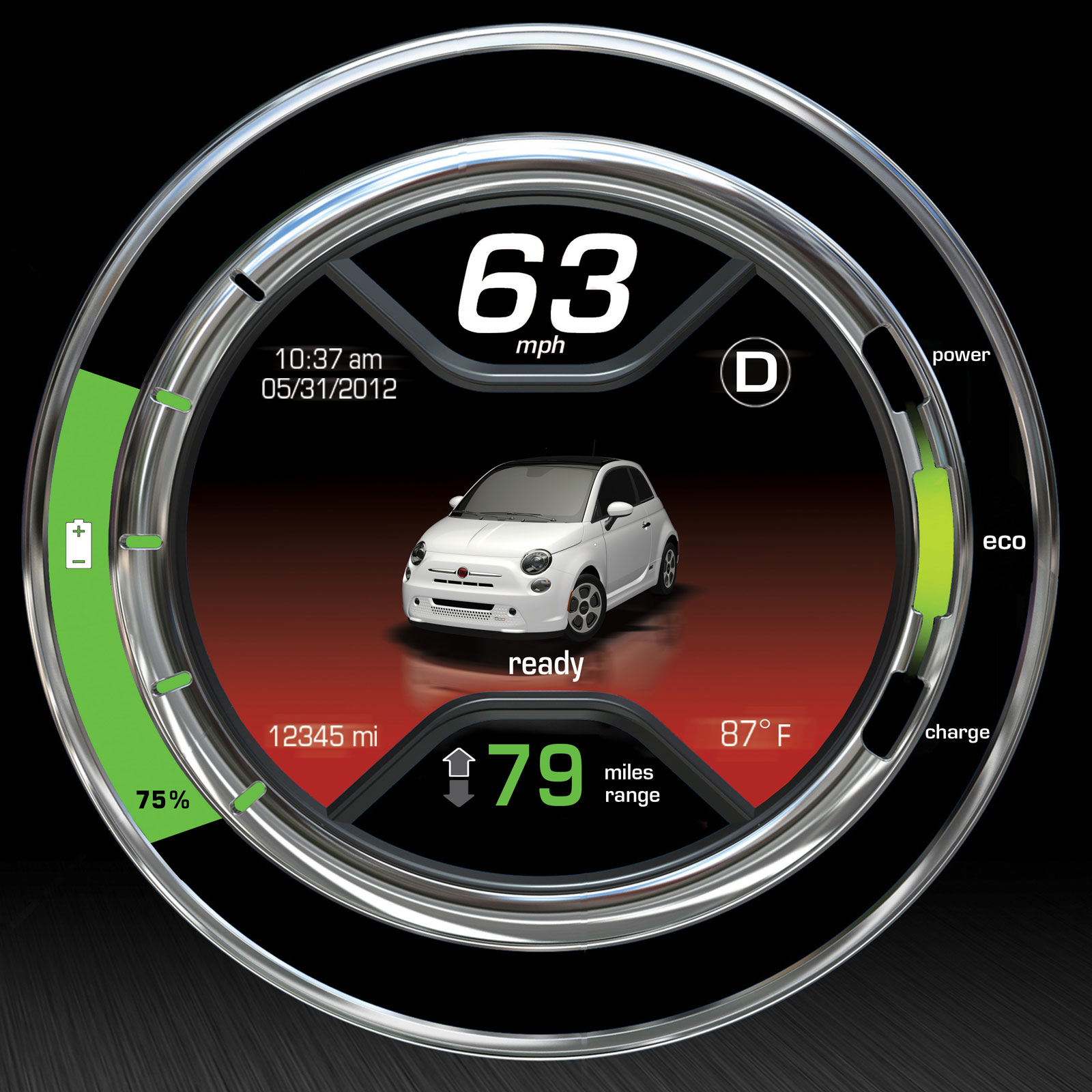 Fiat 500e LCD Gauges Graphics