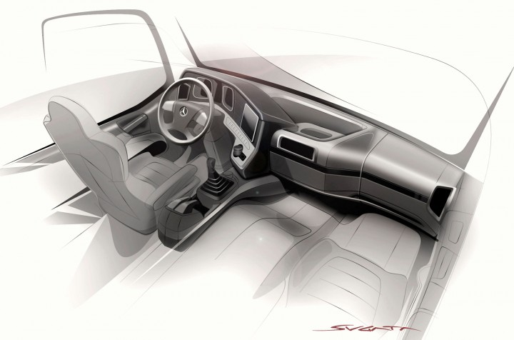 Mercedes-Benz Arocs Interior Design Sketch