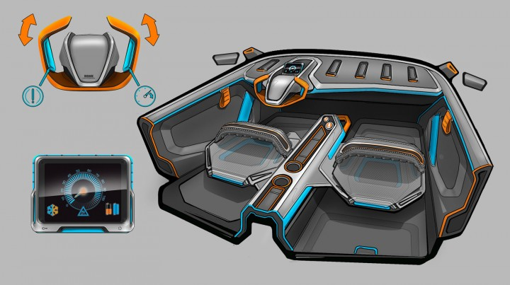 Alpine Utility Vehicle Concept - Interior Design Sketch