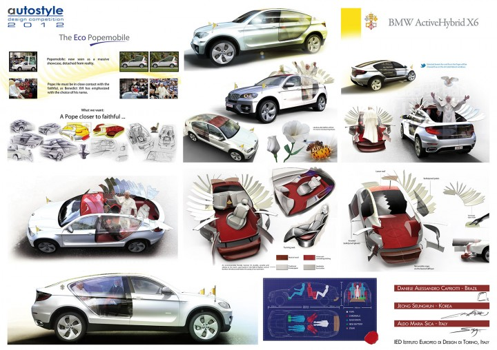 BMW ActiveHybrid X6 Popemobile Concept - Design Board