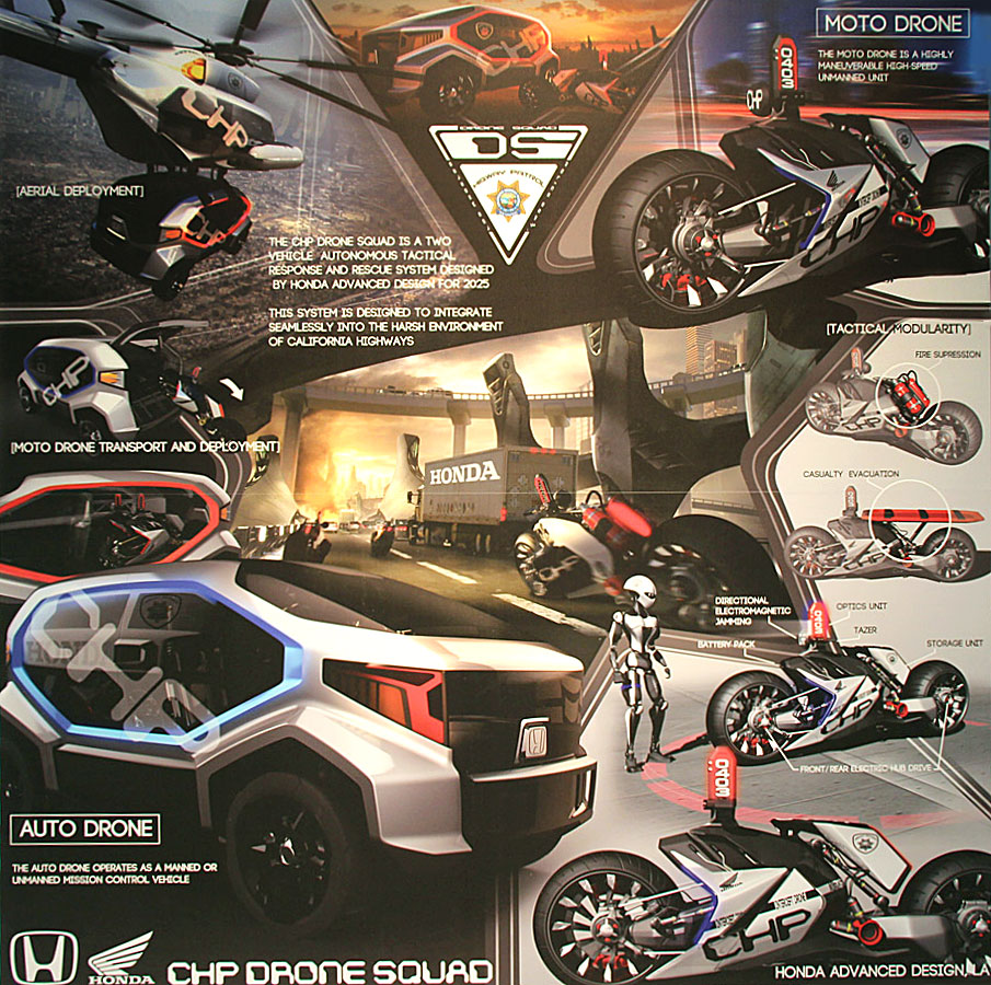 Honda Chp Drone Squad Design Poster on Volvo S60 Sketch