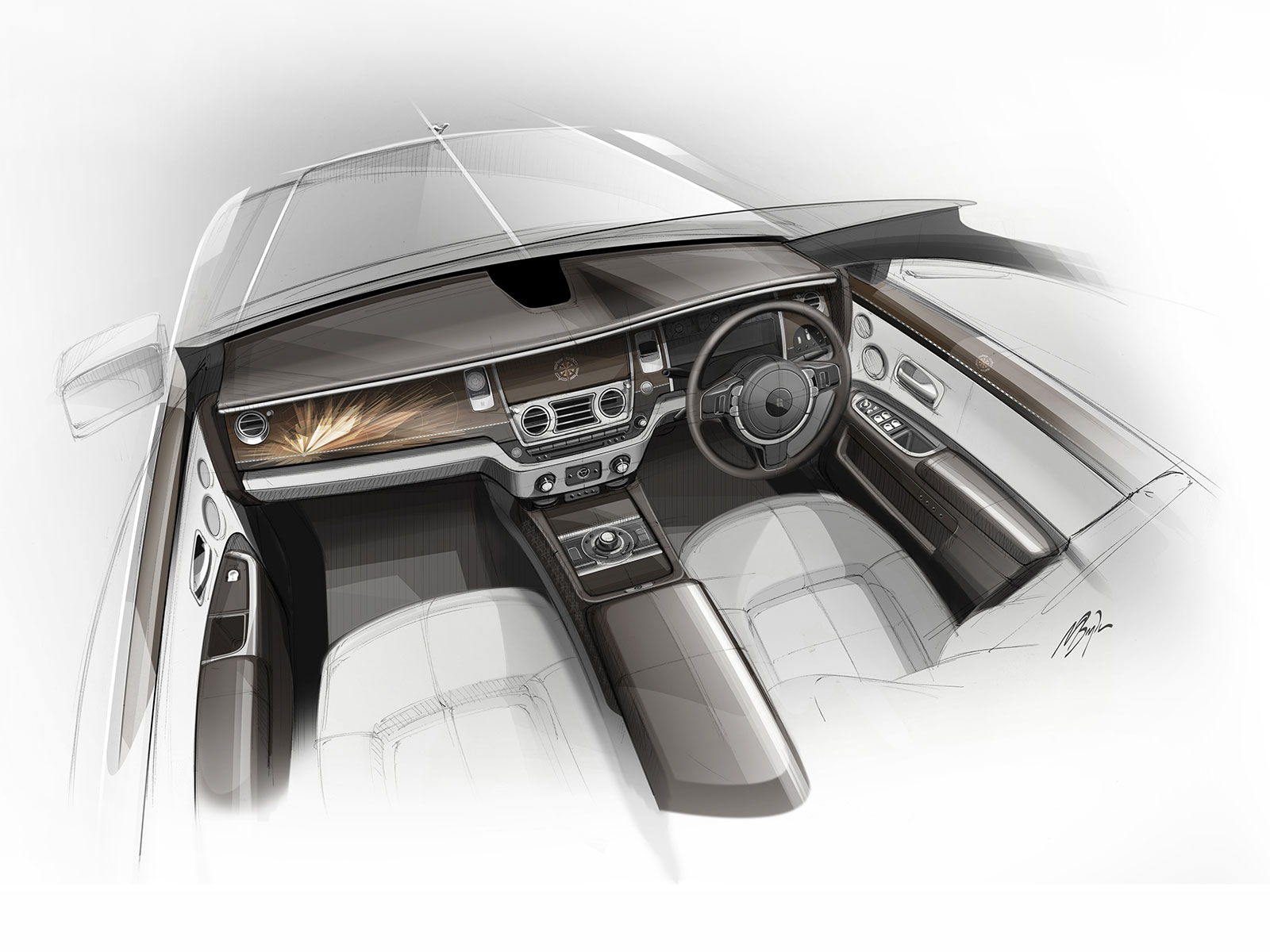 Rolls royce bespoke collection interior design sketch - Car interior design ...