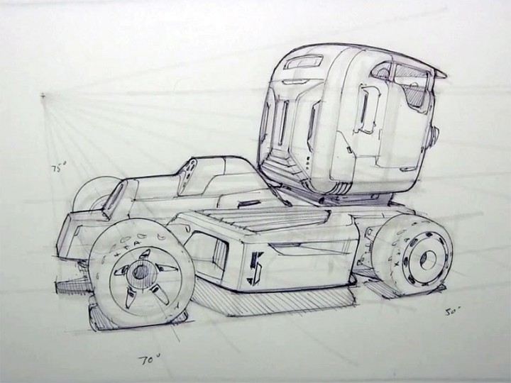 How to draw a sci-fi semi truck