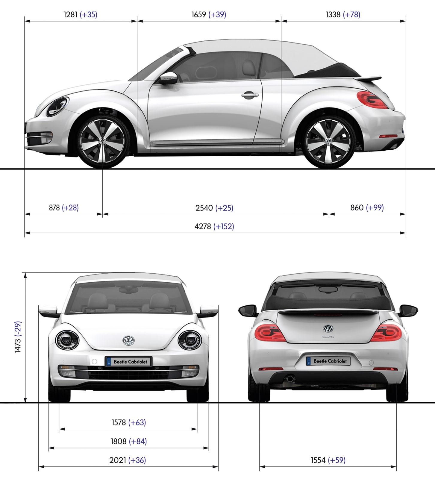Volkswagen Beetle Cabriolet Blueprint Dimensions Car Body Design