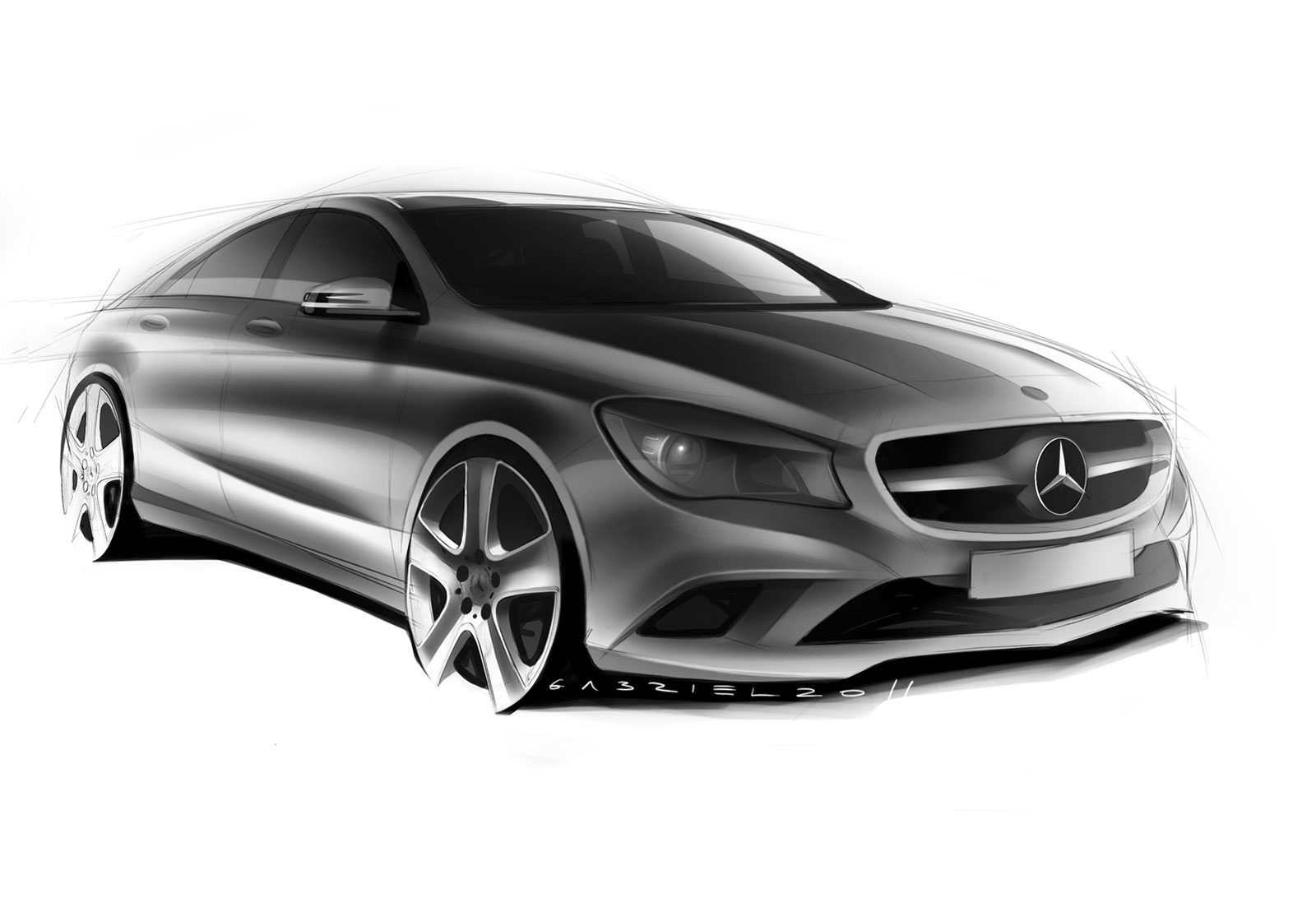 Mercedes Benz Cla Class Design Sketch on Volvo S60 Sketch