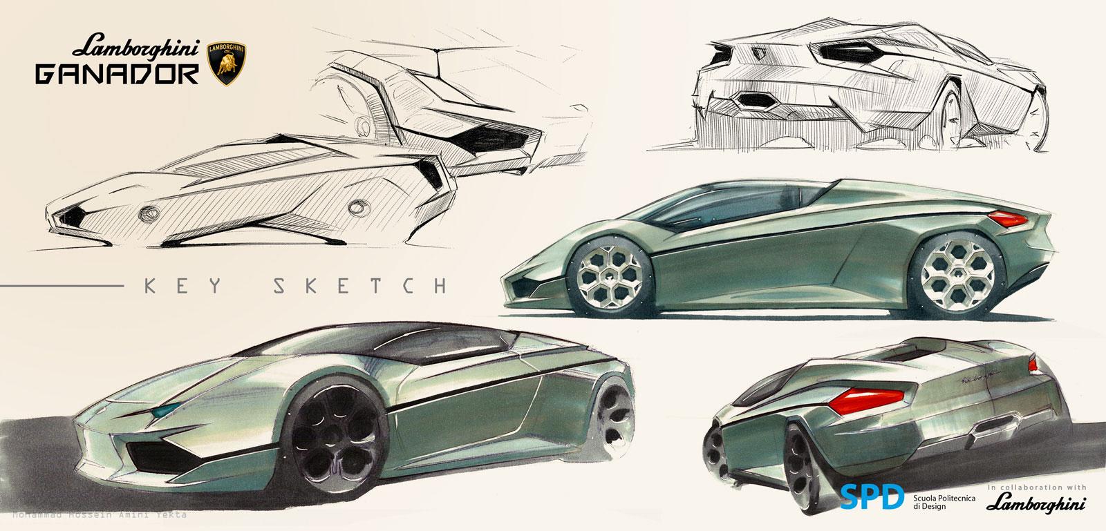 Lamborghini Ganador Concept Design Sketch on Volvo S60 Sketch