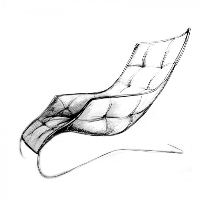 chair design drawing. Lounge Chair By Maserati And Zanotta - Design Sketch Drawing