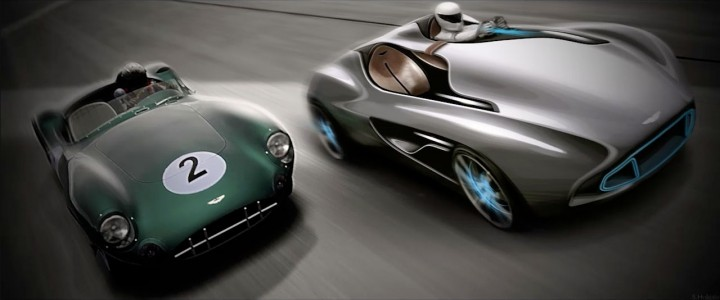 Aston Martin CC100 Speedster Concept and DBR1 - Design Sketch