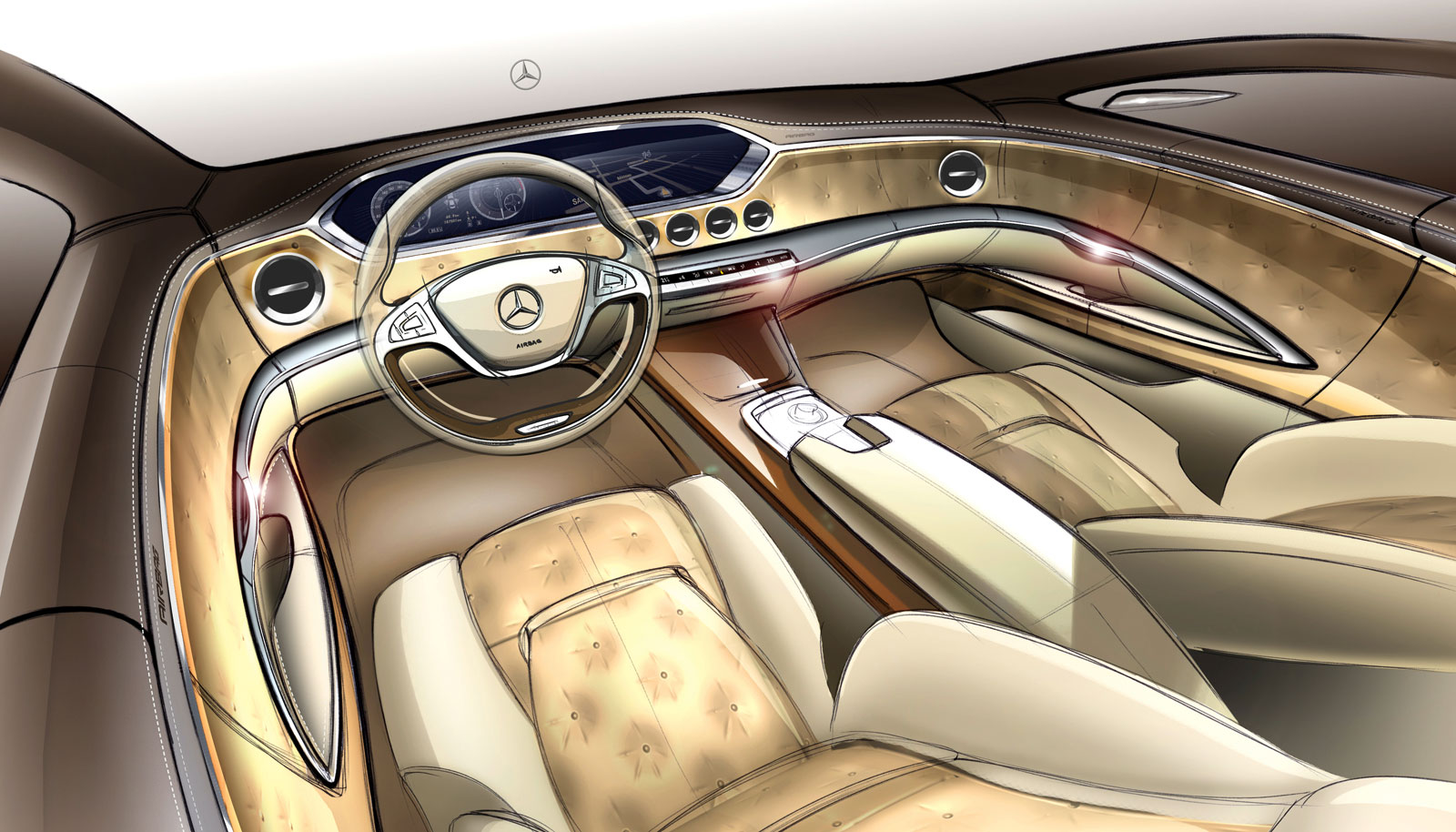 2014 mercedes benz s class interior design sketch car. Black Bedroom Furniture Sets. Home Design Ideas