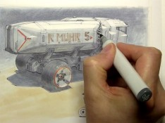 Sci--fi-Truck-Copic-Marker-Rendering-by-Scott-Robertson