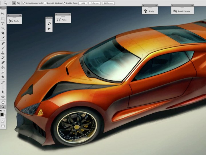 Shiny car rendering in Photoshop: layering strategy